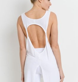White Cutout Muscle Tank