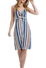 Blue/Rust Striped Midi Dress