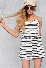 Ivory/Black Striped Romper