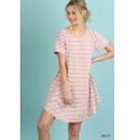 Mauve Striped T-Shirt Dress