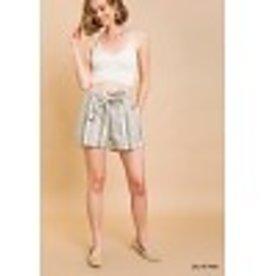 Olive Striped Paperbag Shorts