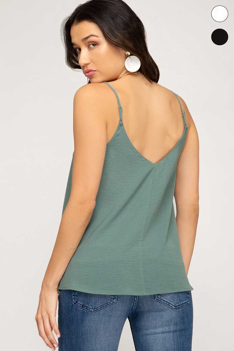 Faded Olive Button Down Tank