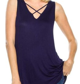 Navy Criss Cross Tank