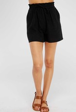 Black High-Waist Linen Shorts