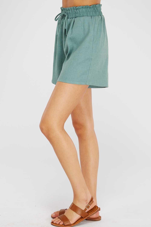 Black High-Waist Linen Shorts
