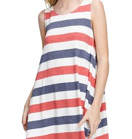 Red/Navy Striped Dress