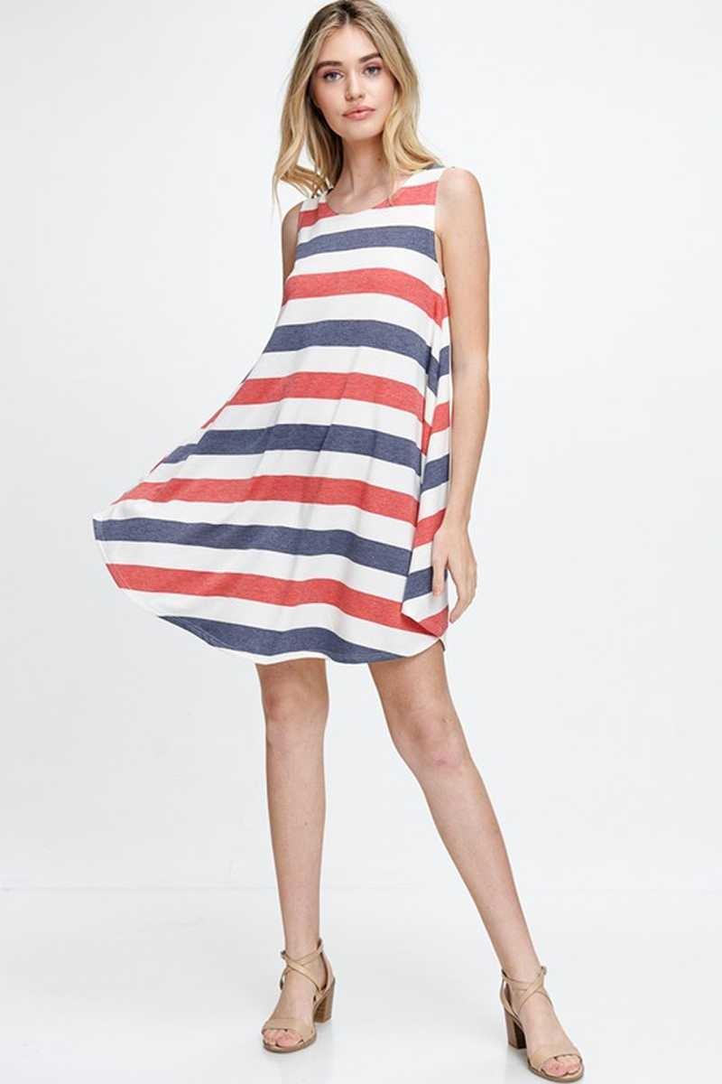 Red/Navy Striped Dress
