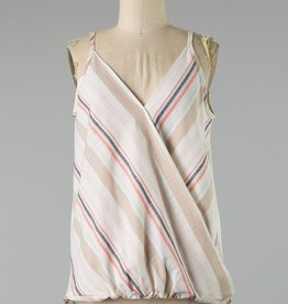 Faded Coral/Khaki Stripe Tank