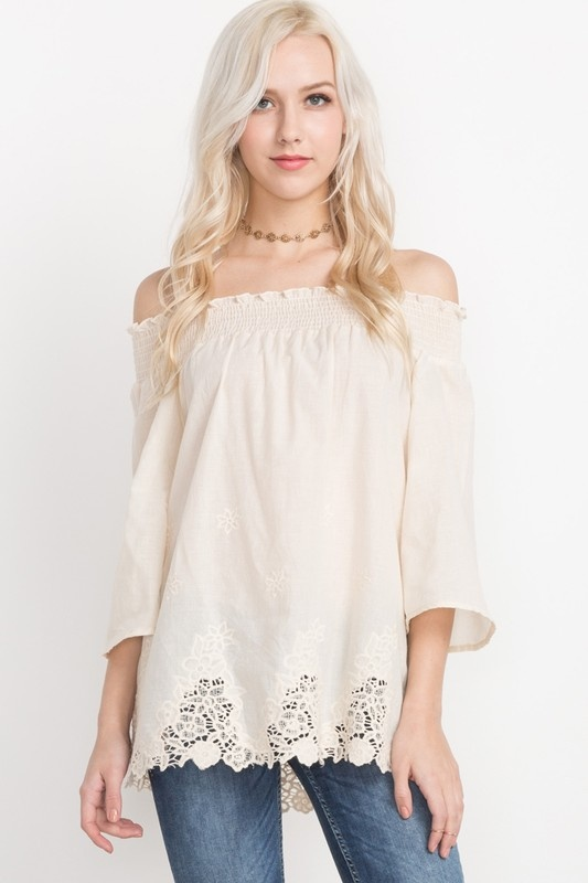 Natural Off Shoulder Top