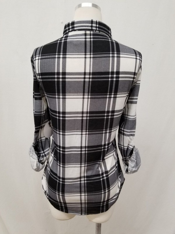 Black/White Plaid Button-Up