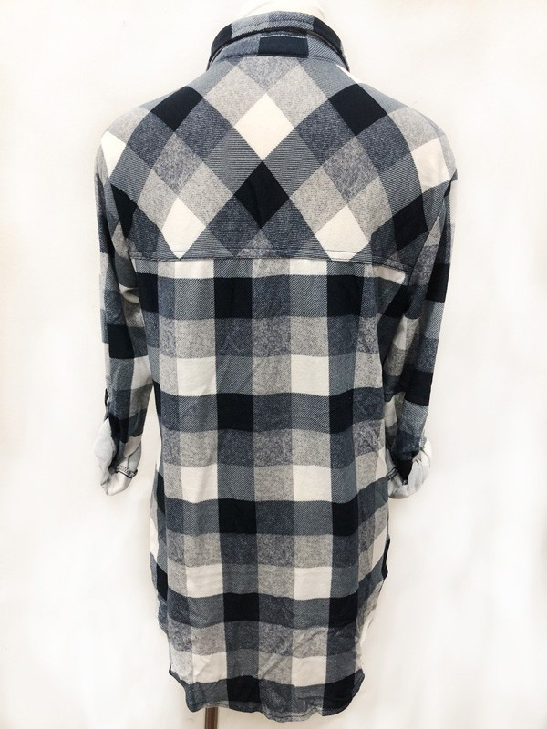 Navy/Ivory Plaid Button-Up