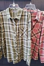 Olive Boyfriend Plaid Button-Up