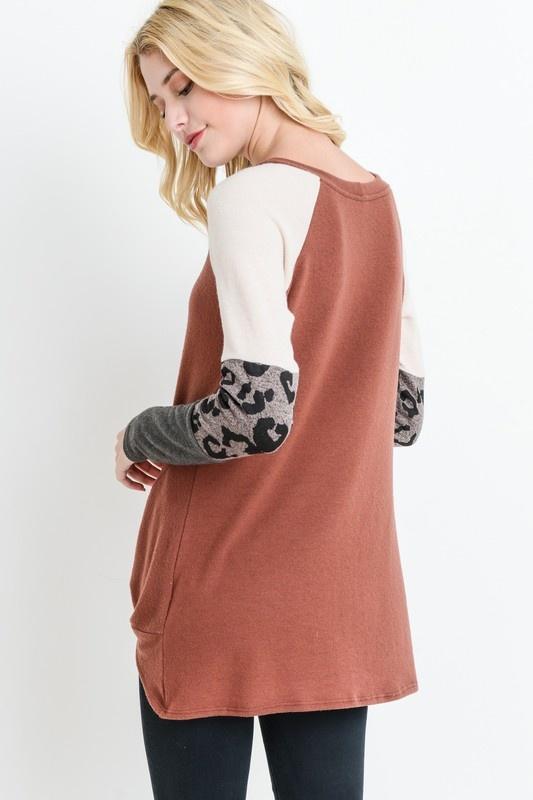 Rust Colorblock Leopard Top