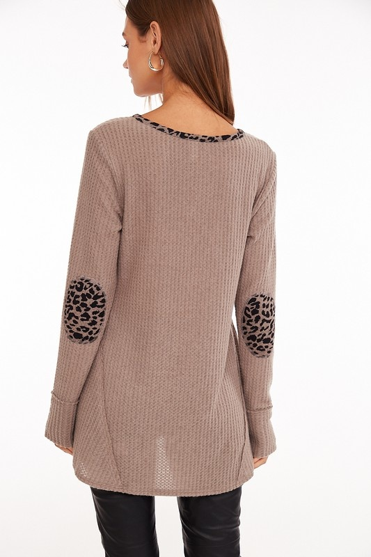 Taupe/Leopard Waffle Top