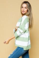 Light Sage Striped Sweater