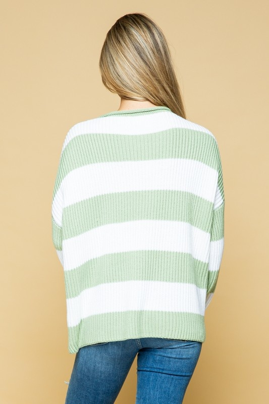 Light Sage Striped Sweater