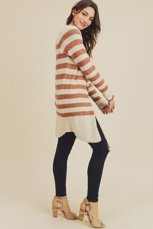Pumpkin Spice Striped Knit Cardigan