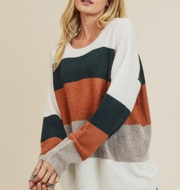 Brick/Olive/Taupe Striped Sweater