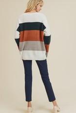 Brick/Olive/Taupe Striped Sweater
