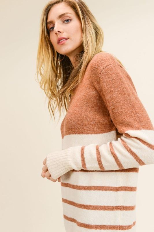 Pumpkin Spice Striped Sweater
