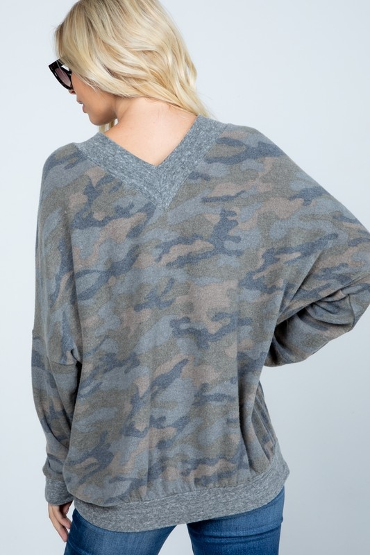 Camo Brushed Knit Pullover
