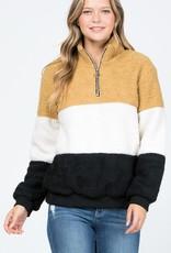 Mustard Colorblock Fleece Pullover