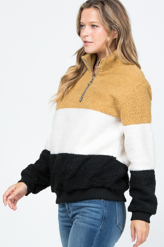 Mustard Colorblock Fleece Pullover