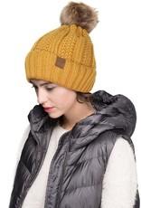 CC Fur Lined Pom Beanie