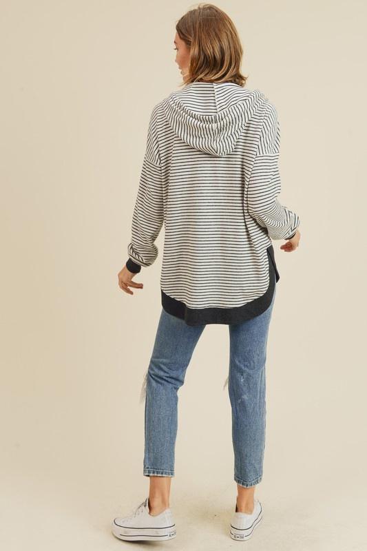 Black/Ivory Brushed Knit Pullover