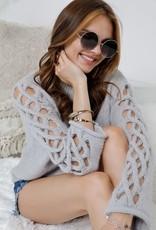 Grey Crochet Sleeve Sweater