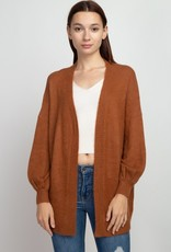 Burnt Sienna Brushed Knit Cardigan