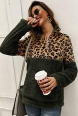 Olive/Leopard Sherpa Fleece Pullover