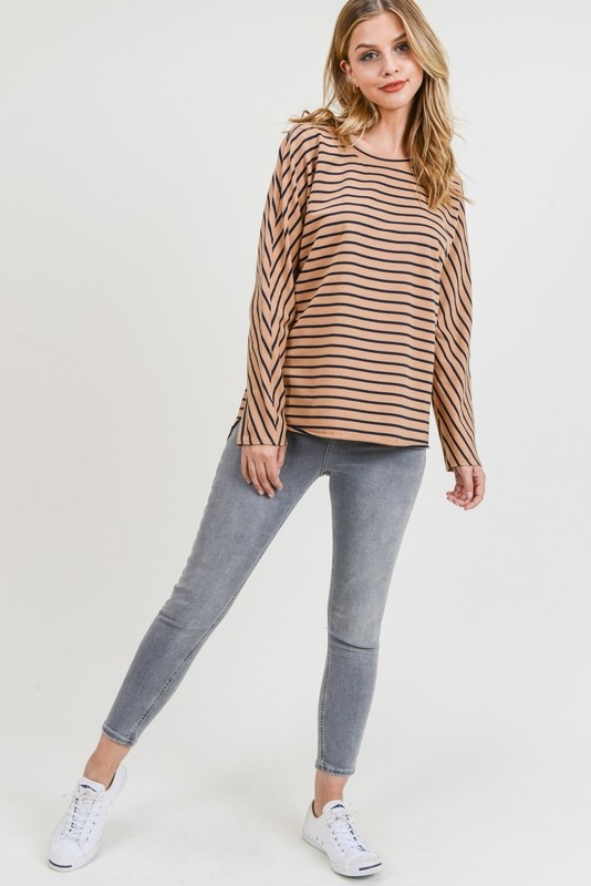 Toffee/Black Striped Top
