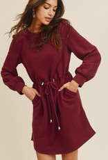 Burgundy Drawstring Dress