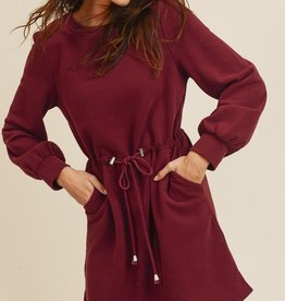 Burgundy Drawstring Dress