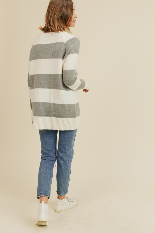 Grey/Ivory Striped Sweater