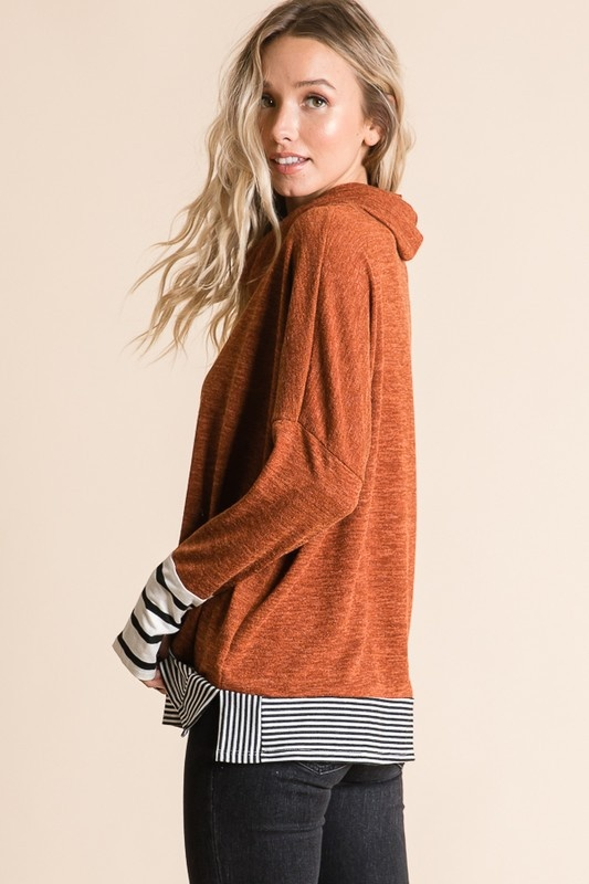 Rust Stripe Cowl Neck Tunic