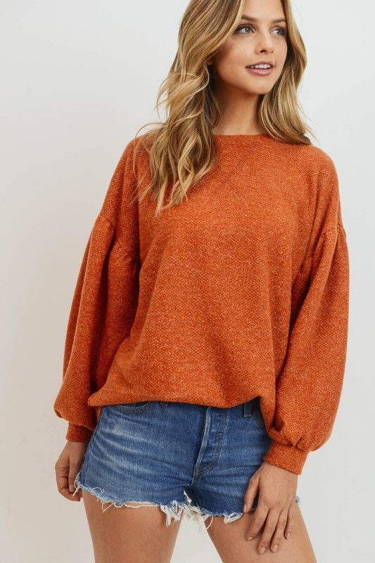 Rust Balloon Sleeve Pullover