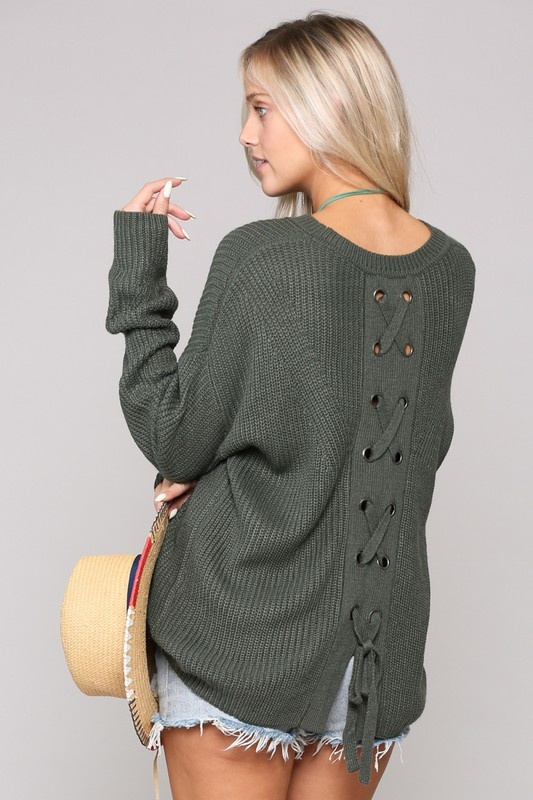 Olive Tie Back Sweater