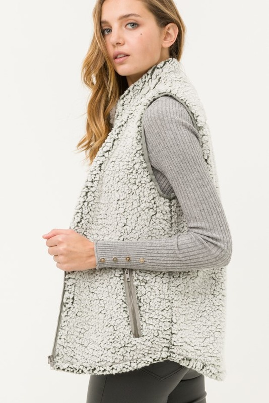 Olive Sherpa Vest