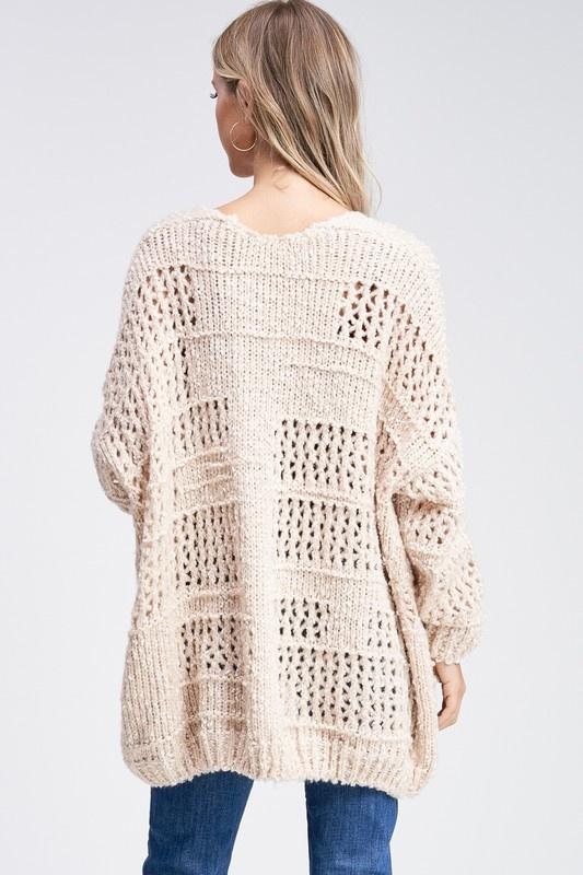Cream Crochet Cardigan