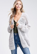 Heather Grey Crochet Cardigan
