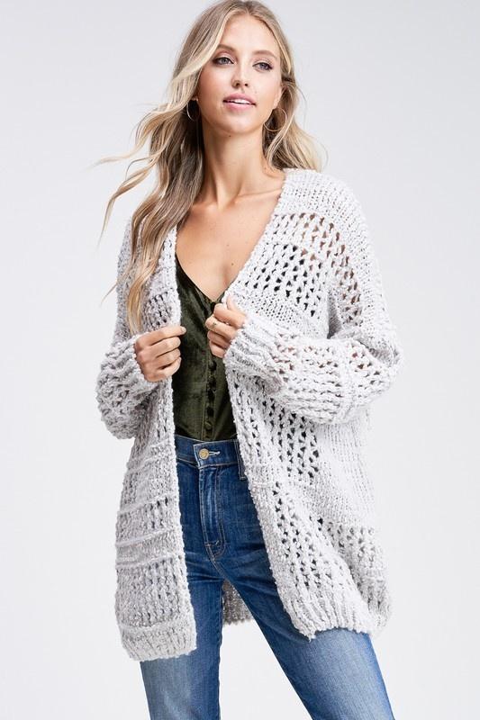 Heather Grey Crochet Cardigan