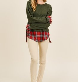 Olive/Plaid Tail Top