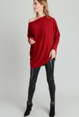 Wine Off Shoulder Tunic