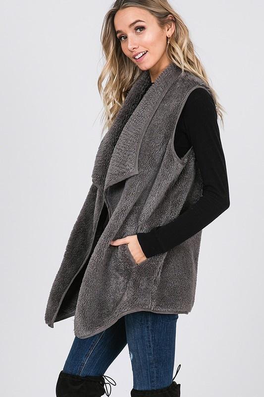 Dk Grey Fur Vest