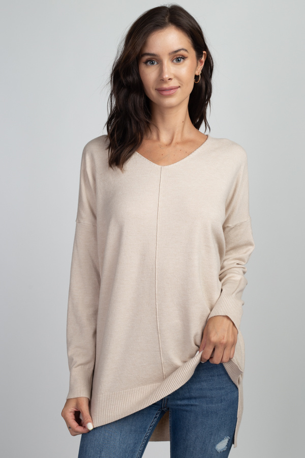 Oatmeal Soft Knit Sweater