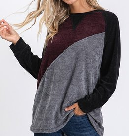 Burgundy/Grey/Black Colorblock Top
