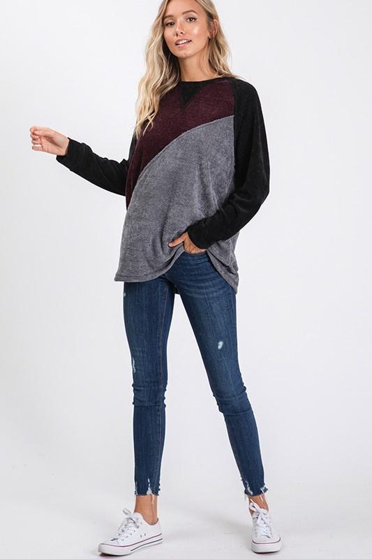 Burgundy/Grey/Black Colorblock Top