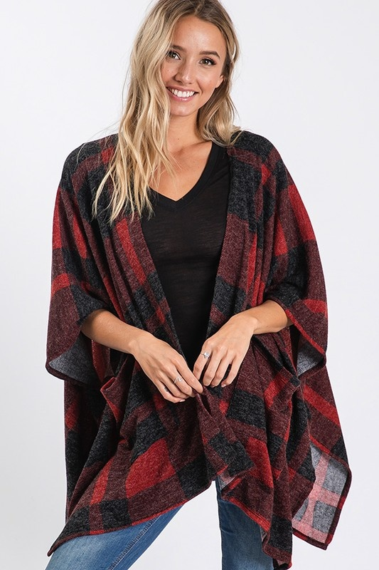 Black/Red Buffalo Check Cardigan